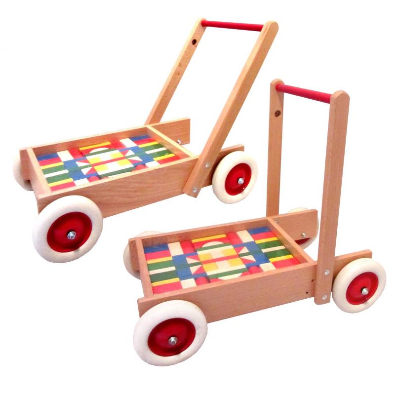 holzspielzeug lauflernwagen mit bunten bausteinen f r kinder ab 1 jahr. Black Bedroom Furniture Sets. Home Design Ideas