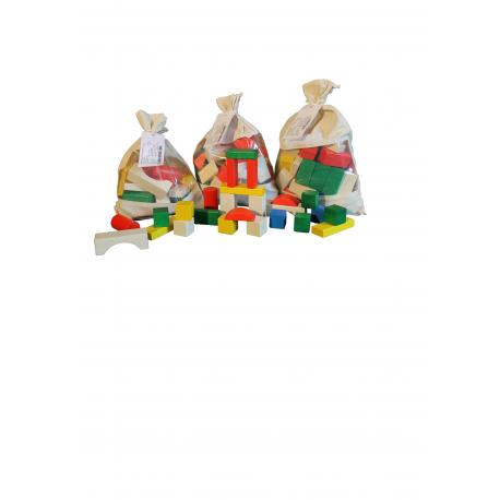 Erzgebirgische Holzspielwaren Ebert Baubeutel 50 Teile bunt für Kinder ab 1 Jahr