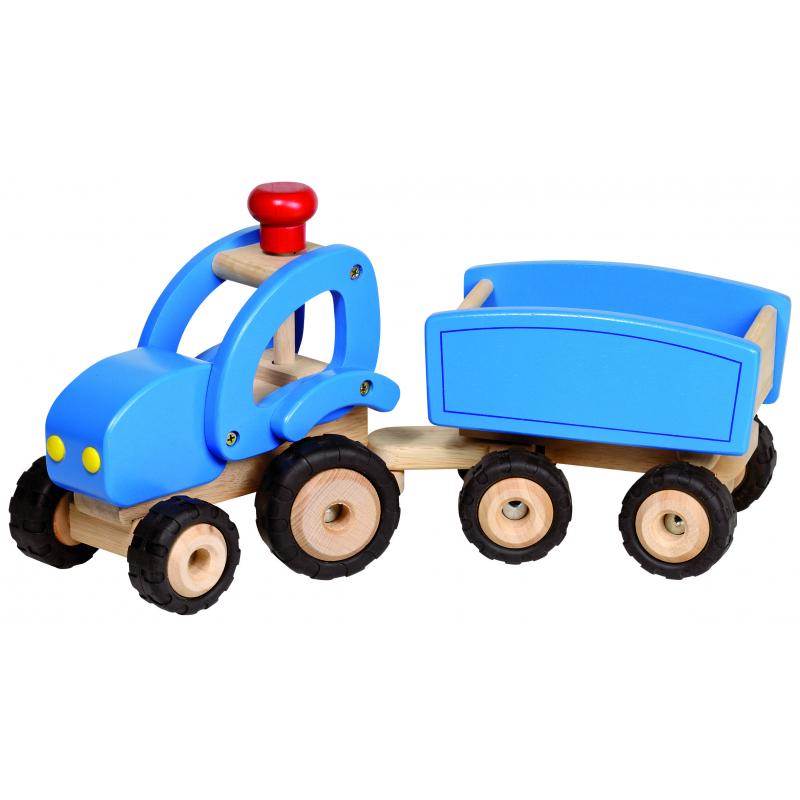 holzspielzeug blauer traktor mit anh nger f r kinder ab 3. Black Bedroom Furniture Sets. Home Design Ideas