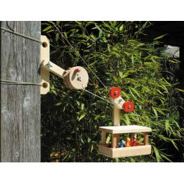 KRAUL Winde/Station aus Holz zur Großen Seilbahn für Kinder ab 6 Jahre