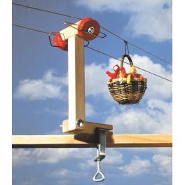 Holz-Stütze zur Körbchenseilbahn für Kinder ab 7 Jahre