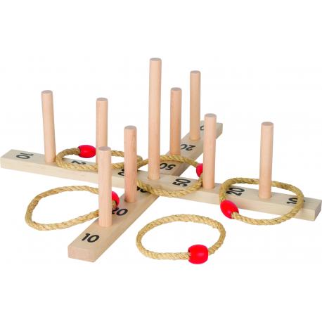 Holz Ringwurfspiel mit 5 Sisalringen für Kinder ab 3 Jahre