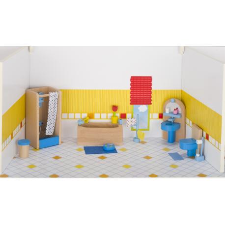 Holz Puppenmöbel - Badezimmer für Kinder ab 3 Jahre