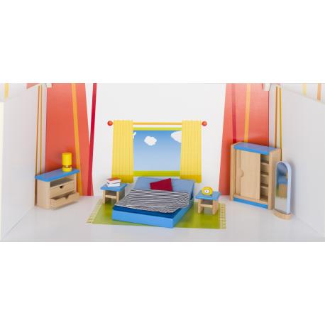 Holz Puppenmöbel - Schlafzimmer für Kinder ab 3 Jahre
