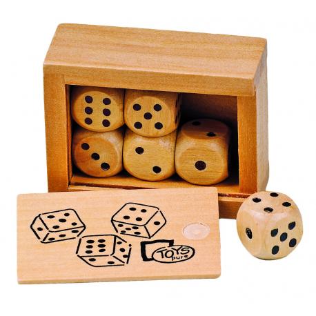Holz Würfelkasten mit 6 Holzwürfeln für Kinder ab 4  Jahre