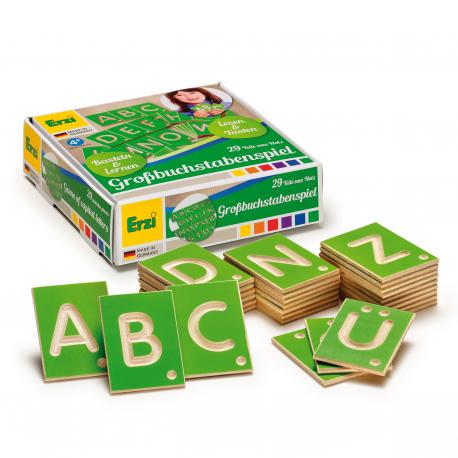 Holz Lernspiel Großbuchstaben für Kinder ab 4 Jahre