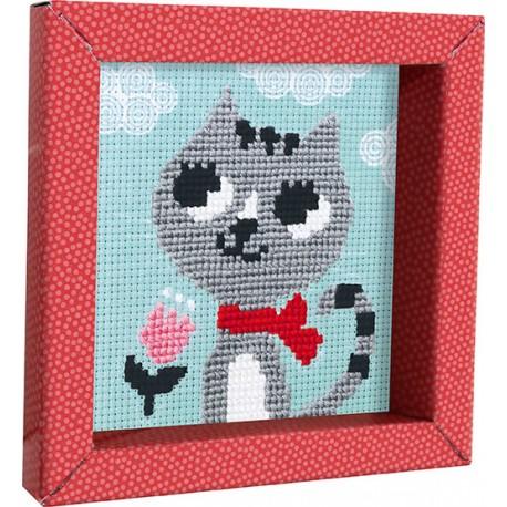 """Pix Gallerie, Kreuzstichplatte """"Katze"""" für Kinder von 6 bis 10 Jahren"""