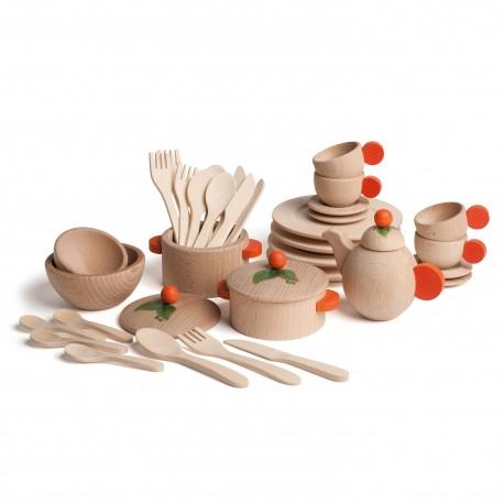 Holz Koch- und Geschirrset für Kinder ab 3 Jahren