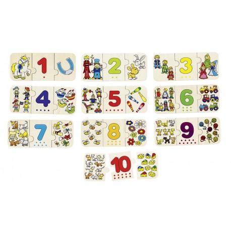 Holz Puzzle - Zählen und Zuordnen für Kinder ab 3 Jahre