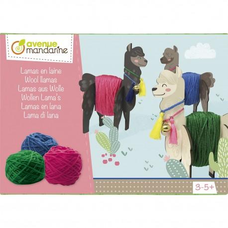 Bastelset Lamas aus Wolle für Kinder von 3 - 5 Jahren