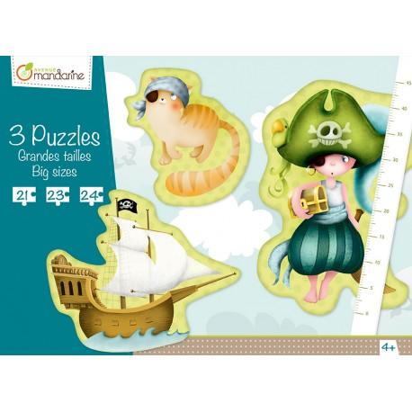 """3 Puzzles  """"Pirat"""" für Kinder ab 4  Jahre"""
