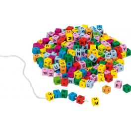 Holz Buchstabenwürfel bunt - zum Auffädeln für Kinder ab 3 Jahre