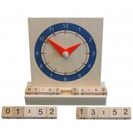 Holz Lernuhr (analoge/digiale Zeit!) für Kinder ab 3 Jahre
