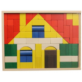 Holz-Baukasten, Haus bunt